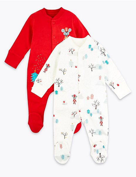2 Pack Cotton Christmas Sleepsuits