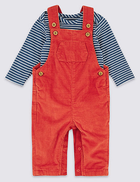 Pure Cotton Two Piece Corduroy Dungarees Outfit