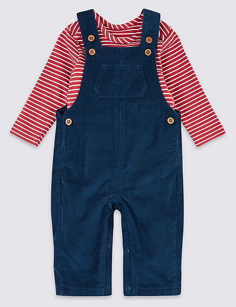 Two Piece Corduroy Dungarees Outfit