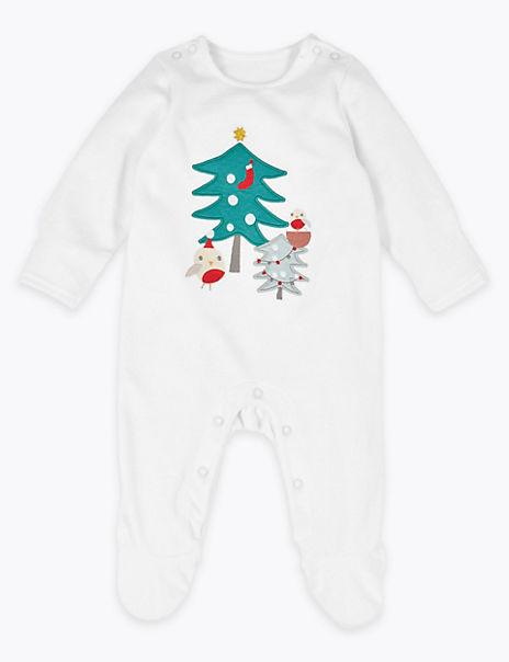Velour Festive Printed Sleepsuit