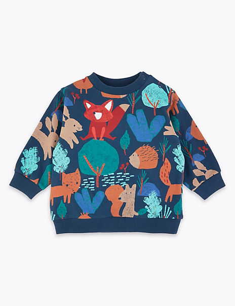 Cotton Woodland Print Sweatshirt