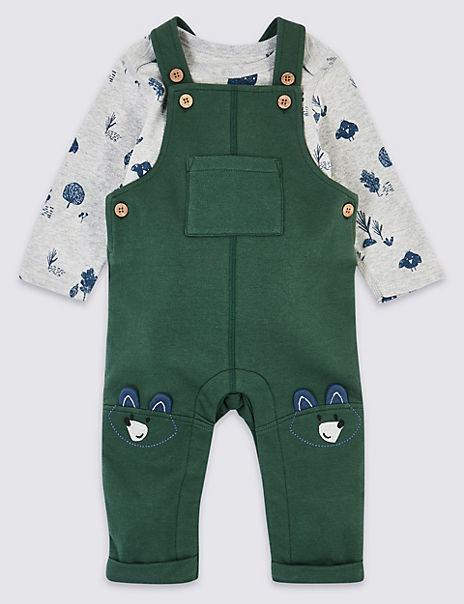 Two Piece Jersey Fox Dungarees Outfit