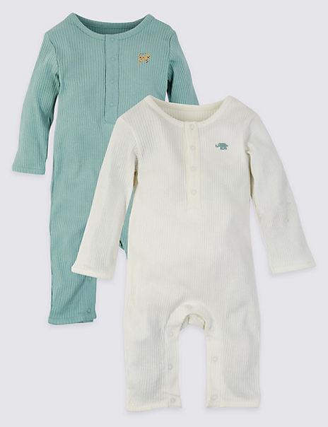 2 Pack Cotton Unisex Sleepsuits