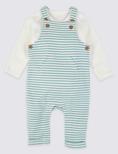 Baby Boys Lined Dungaree and Long Sleeve Striped Top Outfit Two Piece Set