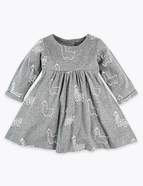 Cotton Jersey Llama Print Dress