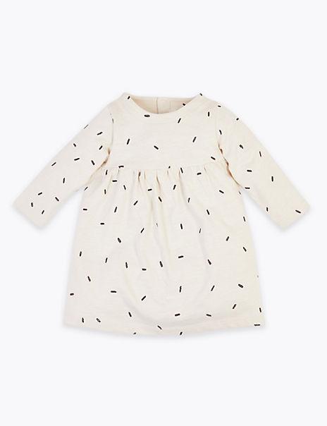 Organic Pure Cotton Dash Print Jersey Dress