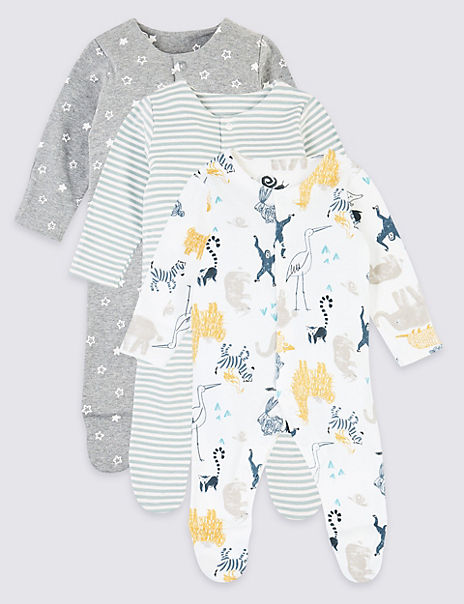 3 Pack Pure Cotton Patterned Sleepsuits