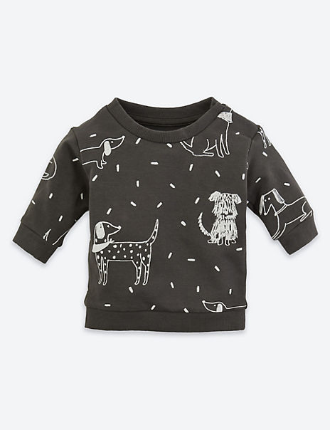 Organic Cotton Dog Print Sweatshirt