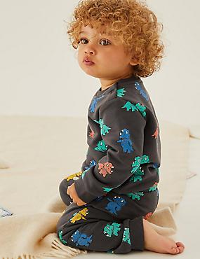 Baumwoll-Sweatshirt mit Dinosauriermuster (0–3 Jahre)