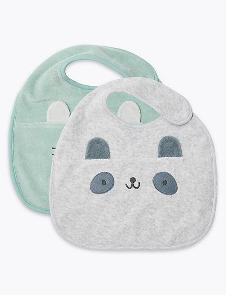 2 Pack Animal Face Bibs