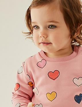 Baumwoll-Sweatshirt mit Herzmuster (0–3 Jahre)