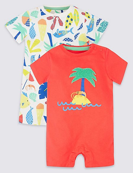 2 Pack Printed Pure Cotton Rompers