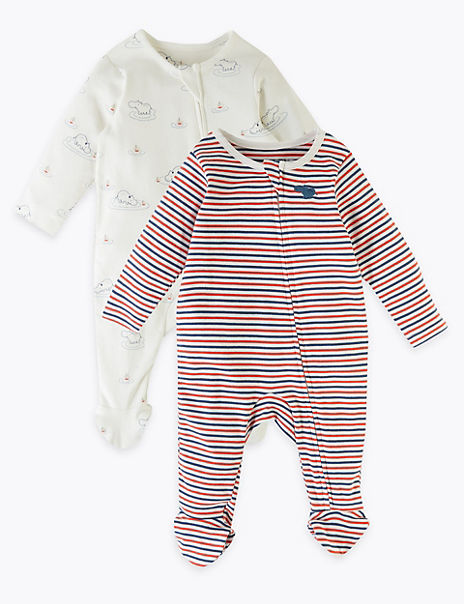 2 Pack Pure Cotton Hippo Sleepsuits (0-12 Mths)