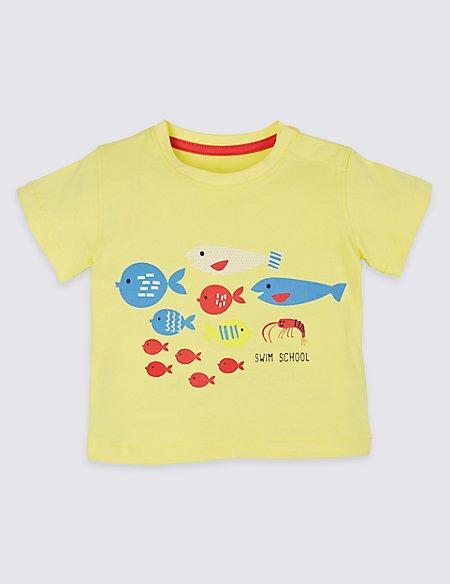 Pure Cotton Fish Print T-Shirt
