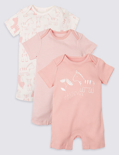 3 Pack Organic Cotton Animal Rompers