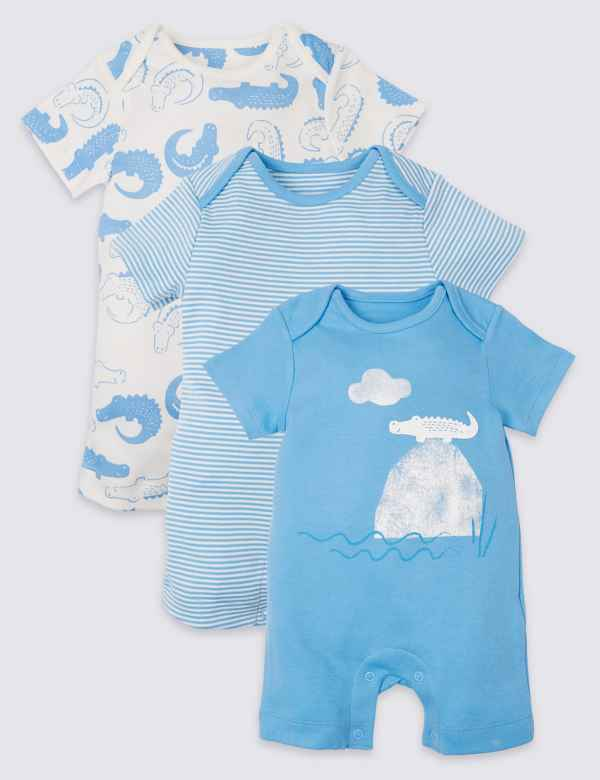 a0c8f89f458b 3 Pack Organic Cotton Animal Rompers