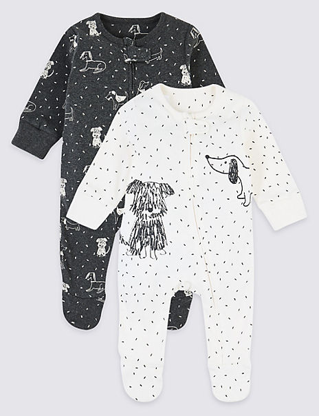 2 Pack Pure Cotton Dog Print Sleepsuits