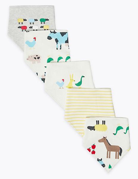 5 Pack Farmyard Print Bibs