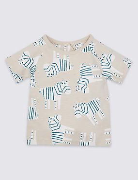 Pure Cotton All Over Zebra Print T-Shirt