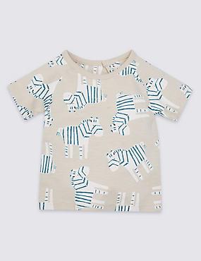 Pure Cotton All Over Zebra Print T-Shirt
