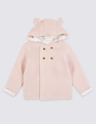 Pure Cotton Hooded Chunky Knit Cardigan (7lbs 3 Yrs)