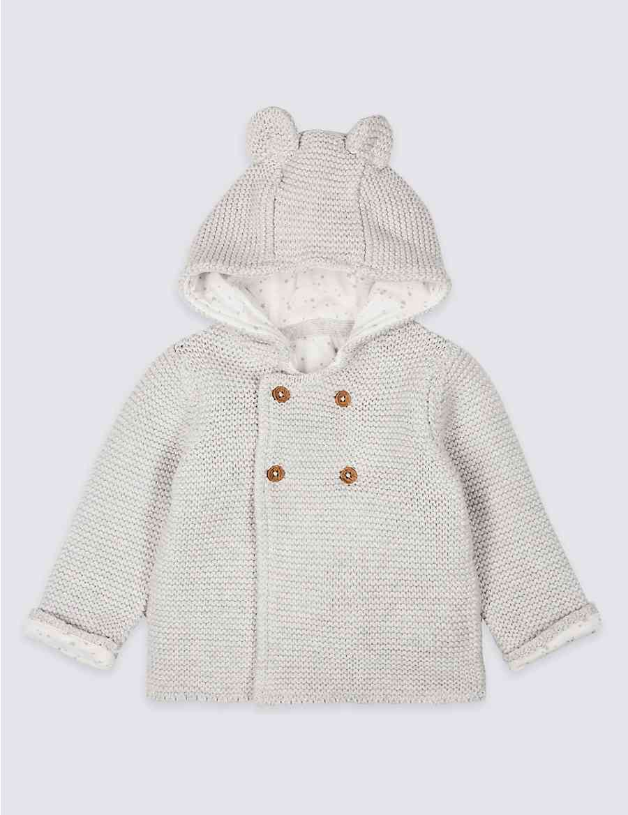 b4a6caec0 Pure Cotton Hooded Chunky Knit Cardigan