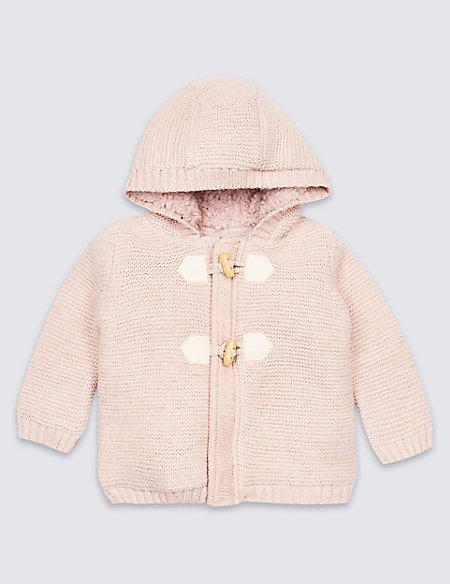 Cotton Rich Fleece Lined Chunky Cardigan