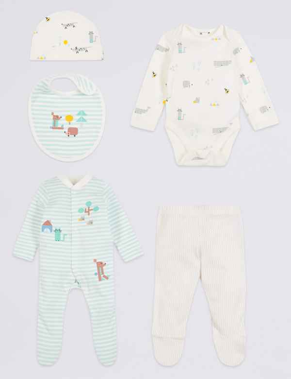 210a0ec6d78 5 Piece Pure Cotton Newborn Essential Set