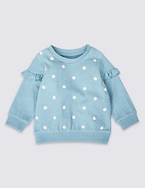 Cotton Rich Embroidered Spot T-Shirt