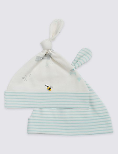 2 Pack Pure Cotton Printed Hats
