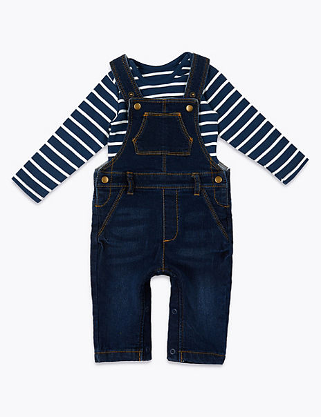 2 Piece Denim Dungarees & Bodysuit Outfit
