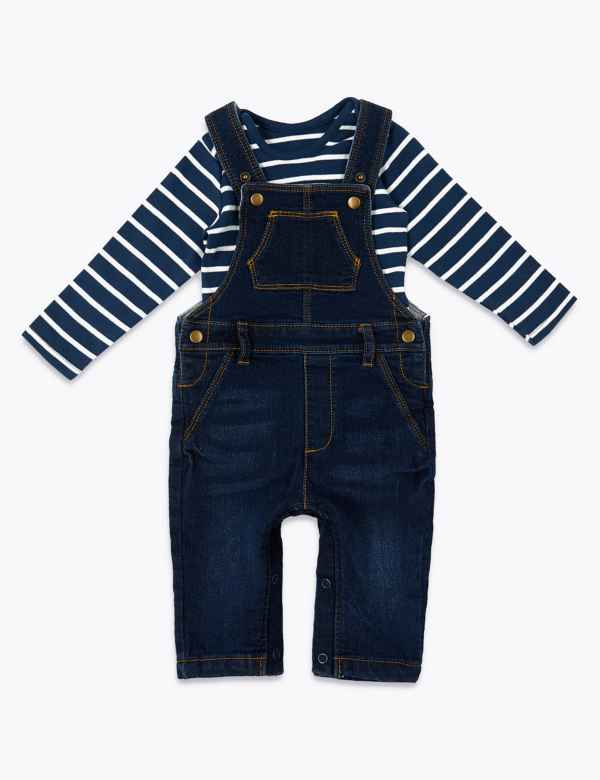 Girls' Clothing (0-24 Months) The Cheapest Price Next Baby Boy Girl Denim Look Dungarees With Stars Clothes, Shoes & Accessories