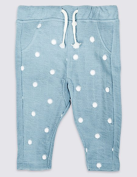 Cotton Rich Embroidered Spot Joggers