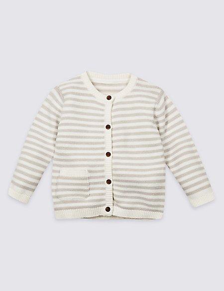 Pure Cotton Striped Cardigan