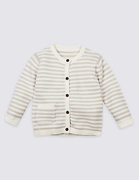 Pure Cotton Striped Cardigan