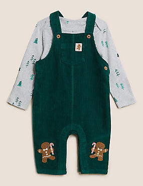 2pc Pure Cotton Novelty Dungaree Outfit (0-3 Yrs)