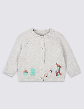 Pure Cotton Applique Cardigan