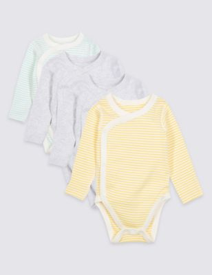 4 Pack Pure Cotton Wrap Over Bodysuits by Marks & Spencer