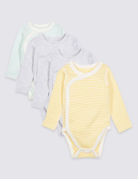 4 Pack Pure Cotton Wrap Over Bodysuits
