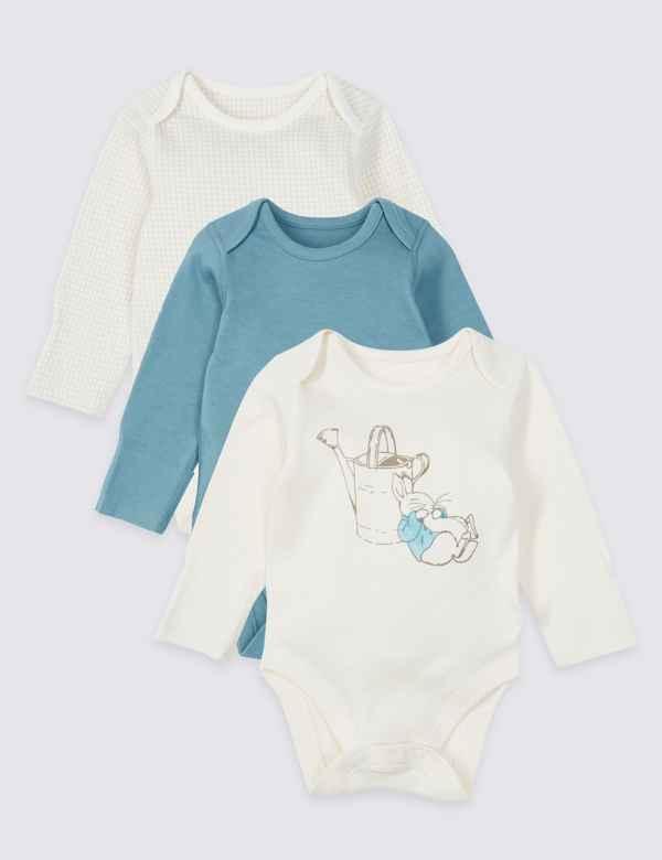 9dca62c051a 3 Pack Peter Rabbit™ Pure Cotton Bodysuits