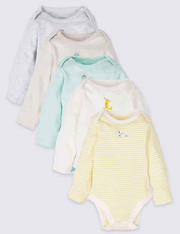 875364870416fe 5 Pack Pure Cotton Bodysuits