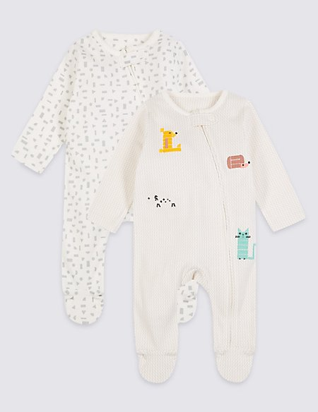 2 Pack Zipped Animal Applique Sleepsuits