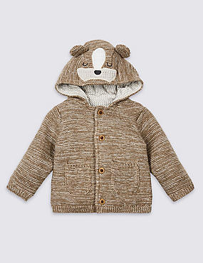 Pure Cotton Animal Face Chunky Cardigan