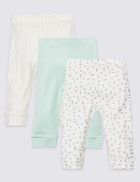 3 Pack Pure Cotton All Over Print Leggings