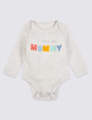 Pure Cotton I Love My Mummy Bodysuit by Marks & Spencer