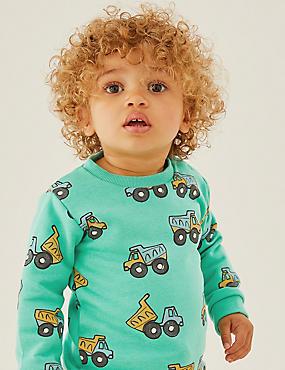 Baumwoll-Sweatshirt mit Fahrzeugen (0–3 Jahre)