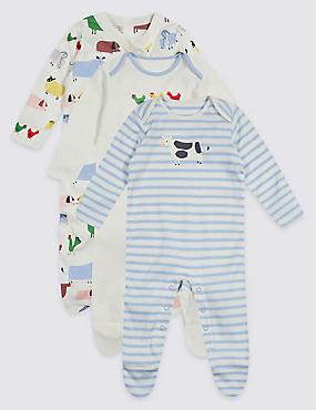 3 Pack Farmyard Unisex Pure Cotton Sleepsuits