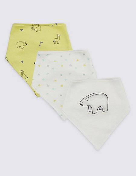 3 Pack Pure Cotton Organic Printed Bibs