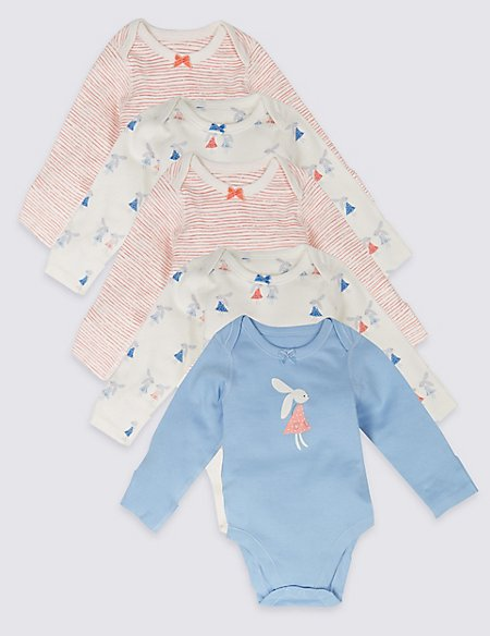 5 Pack Long Sleeve Pure Cotton Bunny Bodysuits