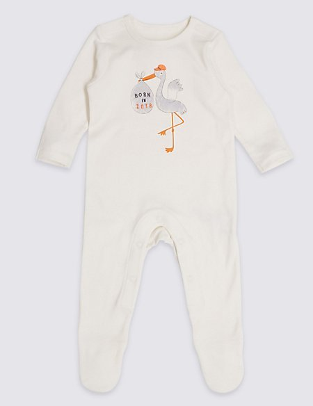 Pure Cotton Born in 2018 Sleepsuit